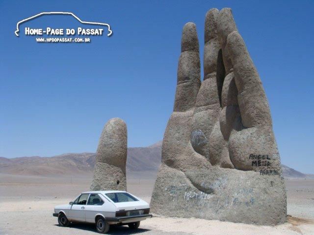 A famosa Mão do Deserto, no Chile.