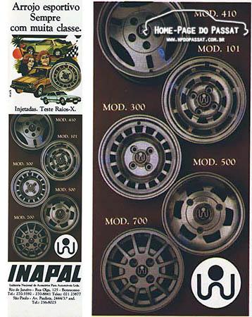 Anúncio das rodas Inapal - Agosto de 1980