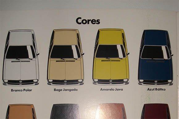 Catálogo de cores: Passat 1978