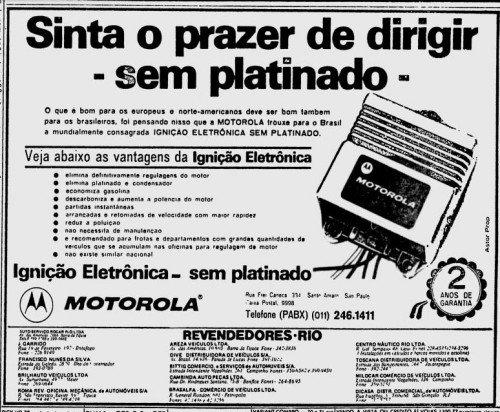 """""""O prazer de dirigir sem platinado"""", anúncio de junho de 1979."""