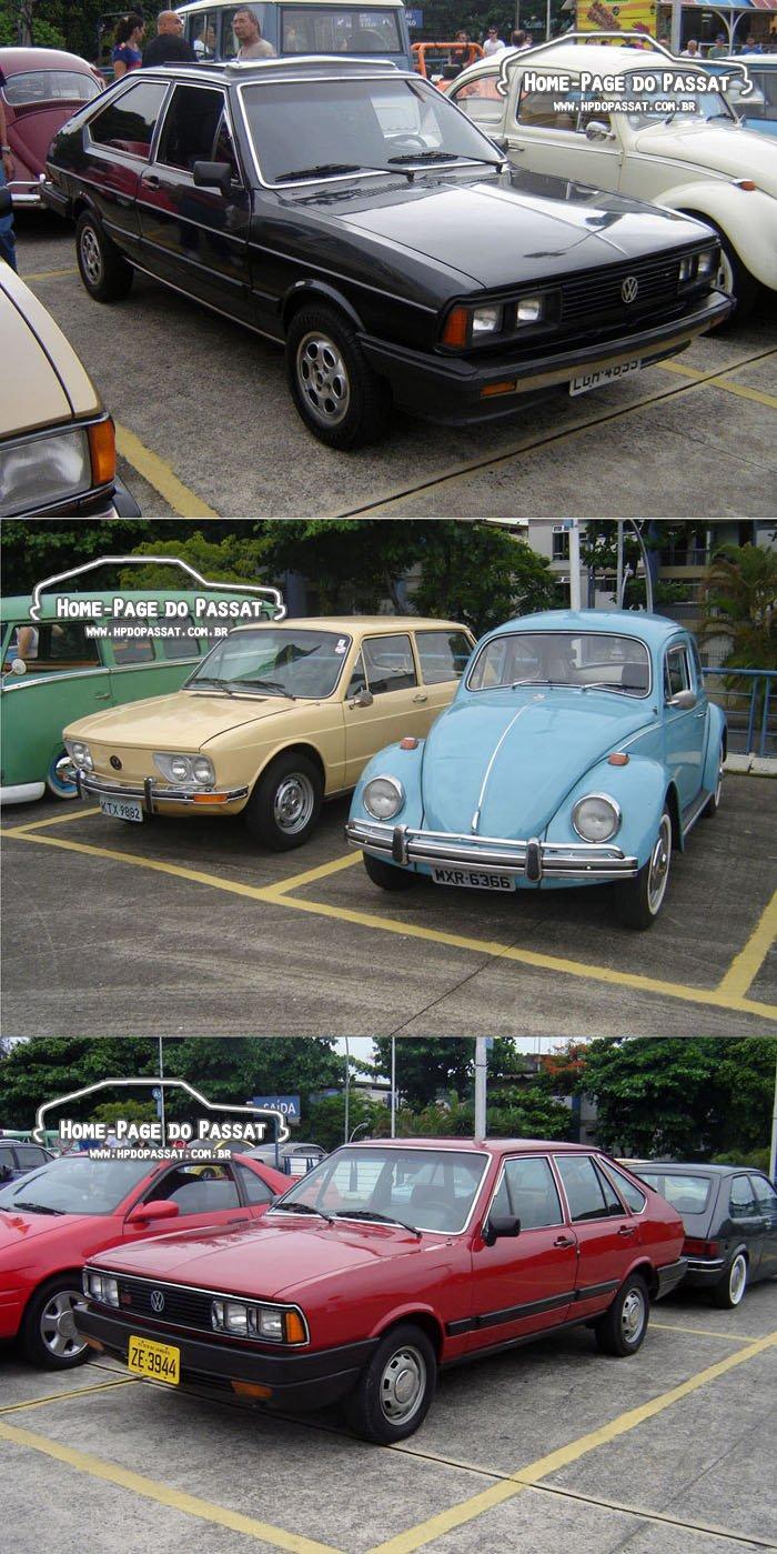 """A partir da foto do alto: Passat LS com acessórios dos anos 80; VW """"a ar"""" que tive o prazer de dirigir; Passat LSE 1987: o escolhido pra me levar ao evento"""