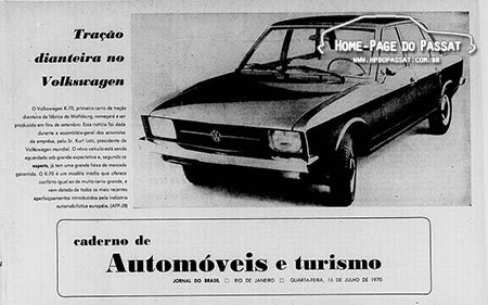 Nota sobre o K70 no Jornal do Brasil do dia 15 de julho de 1970.