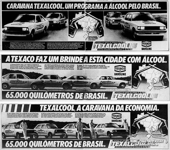 Anúncios publicitários da caravana Texálcool, de julho e agosto de 1980. Fonte: Diário do Paraná e Jornal do Brasil