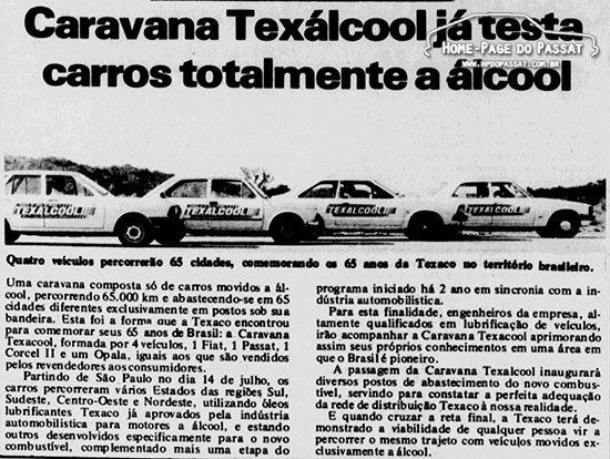 Caravana Texálcool - Matéria do Diário da Tarde (PR) do dia 16 de julho de 1980