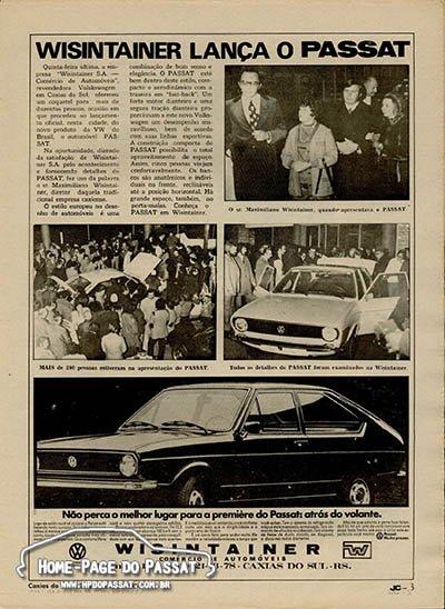 A matéria ocupou uma página inteira do jornal, incluindo um anúncio da concessionária Wisintainer. Foto: Jornal de Caxias