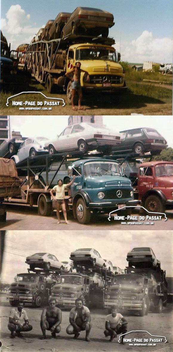 Caminhões cegonha transportando veículos VW entre 1979 e 1982.