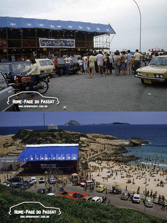 Imagens do Circo Voador na praia do Arpoador, entre janeiro e março de 1982. Fotos: Ricardo Chaves