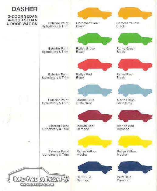 Tabela de cores VW Dasher 1974